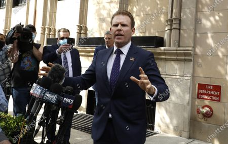 Andrew Giuliani holds a press conference following a federal search warrant executed for Rudi Giuliani on April 28,2021 in New York City. Federal agents executed a search warrant at the former Donald Trump Lawyers residence in connection to his role in the Ukraine dealings during the former administration.