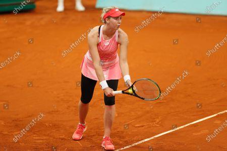 "Stock Image of Nina Stojanovic (SRB) - Tennis : Nina Stojanovic of Serbia during qualifying singles 2nd round match against Ana Konjuh of Croatia on the WTA 1000 ""Mutua Madrid Open tennis tournament"" at the Caja Magica in Madrid, Spain."
