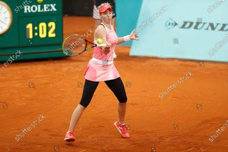 "Stock Photo of Nina Stojanovic (SRB) - Tennis : Nina Stojanovic of Serbia during qualifying singles 2nd round match against Ana Konjuh of Croatia on the WTA 1000 ""Mutua Madrid Open tennis tournament"" at the Caja Magica in Madrid, Spain."