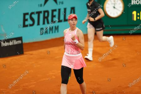 "Stock Picture of Nina Stojanovic (SRB) - Tennis : Nina Stojanovic of Serbia celebrate after point during qualifying singles 2nd round match against Ana Konjuh of Croatia on the WTA 1000 ""Mutua Madrid Open tennis tournament"" at the Caja Magica in Madrid, Spain."