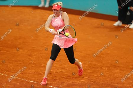 "Nina Stojanovic (SRB) - Tennis : Nina Stojanovic of Serbia during qualifying singles 2nd round match against Ana Konjuh of Croatia on the WTA 1000 ""Mutua Madrid Open tennis tournament"" at the Caja Magica in Madrid, Spain."