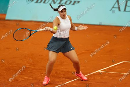 "Ana Konjuh (CRO) - Tennis : Ana Konjuh of Croatia during qualifying singles 2nd round match against Nina Stojanovic of Serbia on the WTA 1000 ""Mutua Madrid Open tennis tournament"" at the Caja Magica in Madrid, Spain."