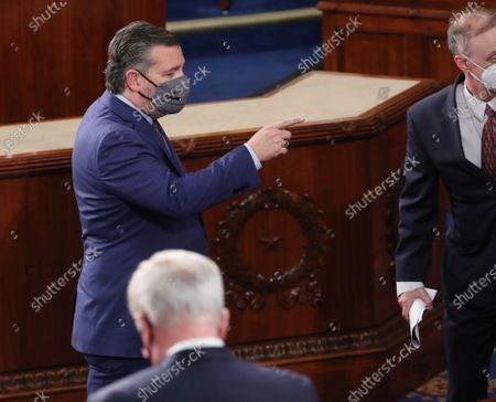 United States Senator Ted Cruz (Republican of Texas) reacts before US President Joe Biden arrives to deliver his first address to a joint session of Congress in the House chamber of the US Capitol in Washington, DC, USA, 28.