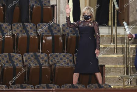 Stock Photo of U.S. first lady Jill Biden waves as she arrives for U.S. President Joe Biden's address to a socially distant joint session of the U.S. Congress at the Capitol in Washington, DC, USA, 28 April 2021. The speech was Biden's first since taking office in January.
