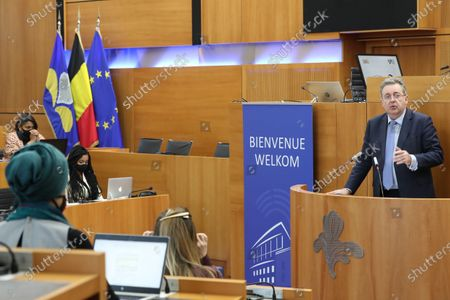 """Brussels region Minister-President Rudi Vervoort delivers a speech at the inaugural session of the """"Assises de Lutte contre le Racisme - Assisen tegen Racisme"""" , in Brussels, Thursday 29 April 2021. Forty years after the adoption of the law aimed at suppressing racism and xenophobia and twenty years later the Durban conference against racism, racial discrimination, xenophobia and intolerance, discrimination and racism continue to undermine our society. The Brussels Parliament has decided to take up this issue by organizing, from April 29 until July, """"Assises de Lutte contre le Racisme - Assisen tegen Racisme""""."""