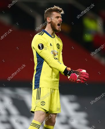 Manchester United goalkeeper David De Gea shouts
