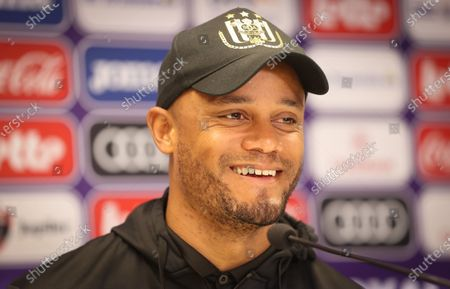 Stock Photo of Anderlecht's head coach Vincent Kompany pictured during a press conference of Belgian soccer team RSC Anderlecht in Brussels, Thursday 29 April 2021, ahead of the first match of the play-offs of the 'Jupiler Pro League' Belgian soccer championship.