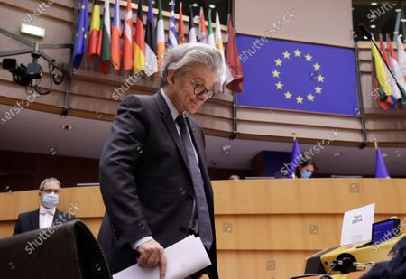 European Commissioner in charge of internal market Thierry Breton attends a debate on European Defense Fund during a plenary session of the European Parliament in Brussels, Belgium, 29 April 2021.