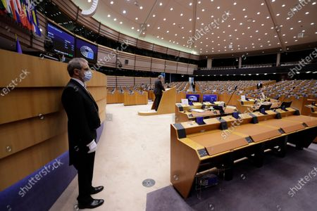 European Commissioner in charge of internal market Thierry Breton (C) attends a debate on European Defense Fund during a plenary session of the European Parliament in Brussels, Belgium, 29 April 2021.