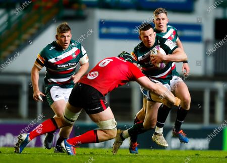 Matt Scott of Leicester Tigers is tackled by Matt Rea of Ulster Rugby; Mattioli Woods Welford Road Stadium, Leicester, Midlands, England; European Rugby Challenge Cup, Leicester Tigers versus Ulster.