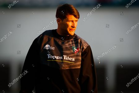 Stock Photo of Richard Wigglesworth of Leicester Tigers during the pre-match warm-up; Mattioli Woods Welford Road Stadium, Leicester, Midlands, England; European Rugby Challenge Cup, Leicester Tigers versus Ulster.