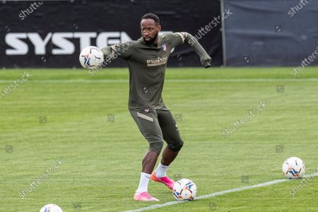 Atletico Madrid's Moussa Dembele during the training of the team held at Wanda Sports City in Mahadahonda, Madrid, Spain, 29 April 2021. Atletico Madrid will face Elche FC in theri Spanish LaLiga soccer match on 01 May 2021.