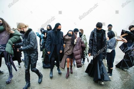 Stock Picture of Rick Owens and Michele Lamy with the models in the backstage of his own Fashion show in Venezia Lido, Fall Winter 2021, Ready To Wear Fashion Week