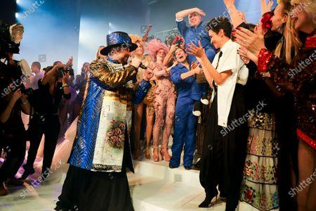 Boy George, Anna Cleveland, Coco Rocha, Jean Paul Gaultier, Farida Khelfa, Amanda Lear on the catwalk at the Jean Paul Gaultier Fashion show in Paris, Spring Summer 2020, Couture Fashion Week