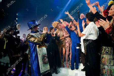 Boy George, Anna Cleveland, Coco Rocha, Jean Paul Gaultier on the catwalk at the Jean Paul Gaultier Fashion show in Paris, Spring Summer 2020, Couture Fashion Week