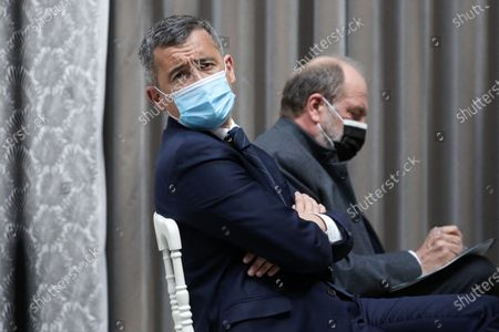 The Minister of the Interior, Gerald Darmanin and Eric Dupond-Moretti, Minister of Justice, Guard of the Seals, give a press conference at the end of the Council of Ministers on April 28, 2021, at the Palais de l'Elysee in Paris, France. French Prime Minister, French Minister of the Interior and French Minister of Justice, give a press conference after the Council of Ministers, at the Elysee Palace in Paris, France