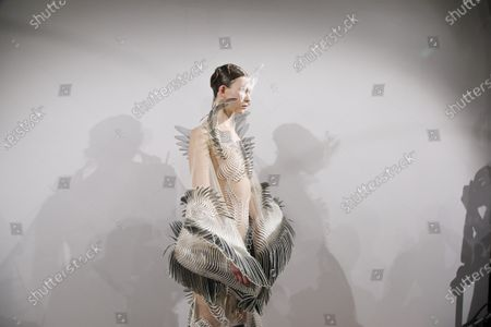 Model in the backstage of the Iris Van Herpen Fashion show in Paris, Spring Summer 2020, Couture Fashion Week