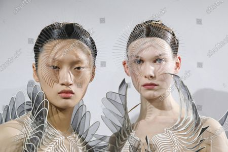 Models in the backstage of the Iris Van Herpen Fashion show in Paris, Spring Summer 2020, Couture Fashion Week