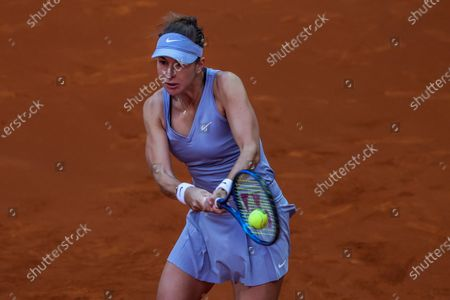 Belinda Bencic of Switzerland in action during her first round match against Kristina Mladenovic of France at the Mutua Madrid Open tennis tournament at Caja Magica, in Madrid, Spain, 29 April 2021.