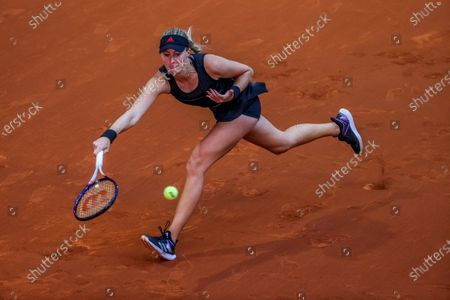 Kristina Mladenovic of France in action during her first round match against Belinda Bencic of Switzerland at the Mutua Madrid Open tennis tournament at Caja Magica, in Madrid, Spain, 29 April 2021.