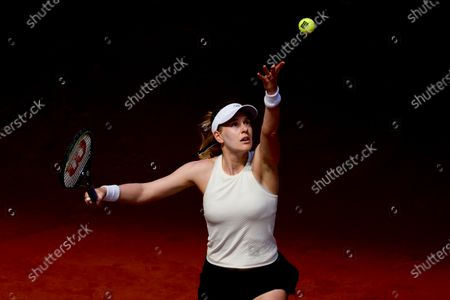 Stock Picture of Alison Riske of USA in action during her first round match against Iga Swiatek of Poland at the Mutua Madrid Open tennis tournament at Caja Magica, in Madrid, Spain, 29 April 2021.