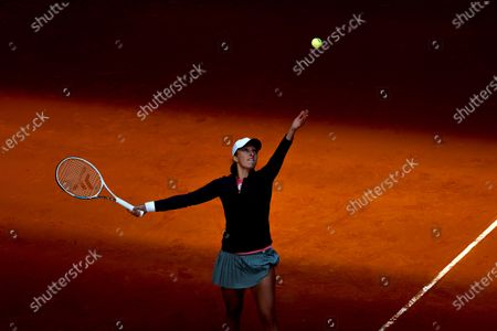 Stock Image of Iga Swiatek of Poland in action during her first round match against Alison Riske of USA at the Mutua Madrid Open tennis tournament at Caja Magica, in Madrid, Spain, 29 April 2021.