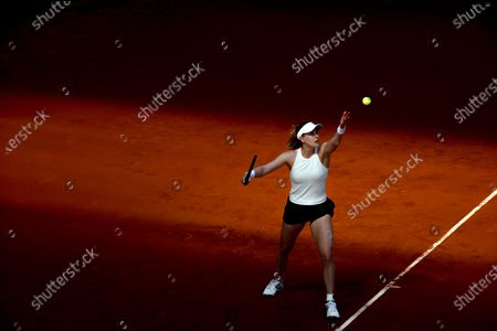 Alison Riske of USA in action during her first round match against Iga Swiatek of Poland at the Mutua Madrid Open tennis tournament at Caja Magica, in Madrid, Spain, 29 April 2021.