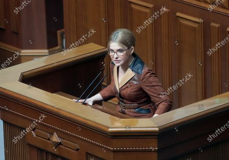 Batkivshchyna faction leader, MP Yulia Tymoshenko addresses her colleagues during a regular sitting of the Ukrainian parliament, Kyiv, capital of Ukraine.