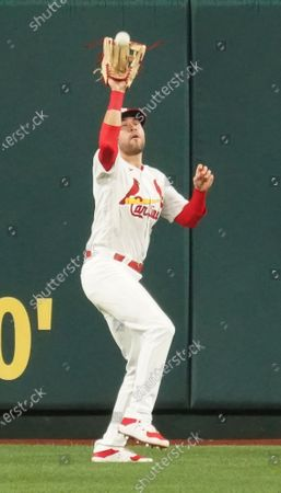 St. Louis Cardinals Dylan Carlson makes a catch on a baseball off the bat of Philadelphia Phillies Nick Mason in the fifth inning at Busch Stadium in St. Louis on Wednesday, April 28, 2021.
