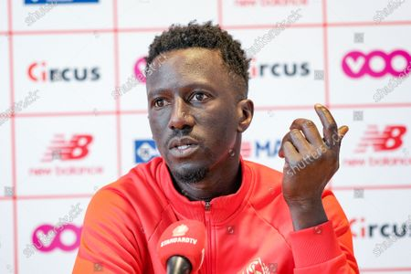 Standard's head coach Mbaye Leye pictured during a press conference of Belgian soccer team Standard de Liege, Thursday 29 April 2021 in Liege, ahead of the first match in the play-offs of the 'Jupiler Pro League' Belgian soccer championship.