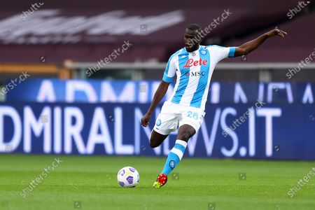 Kalidou Koulibaly of Ssc Napoli in action during the Serie A match between Torino Fc and Ssc Napoli at Stadio Grande Torino on April 26, 2021 in Turin, Italy.