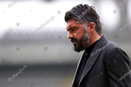 Gennaro Gattuso, head coach of Ssc Napoli, looks on during warm up before the Serie A match between Torino Fc and Ssc Napoli at Stadio Grande Torino on April 26, 2021 in Turin, Italy.