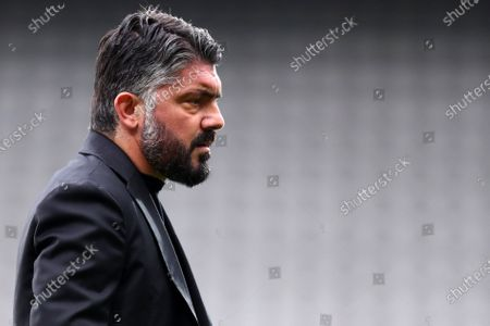 Stock Photo of Gennaro Gattuso, head coach of Ssc Napoli, looks on during warm up before the Serie A match between Torino Fc and Ssc Napoli at Stadio Grande Torino on April 26, 2021 in Turin, Italy.