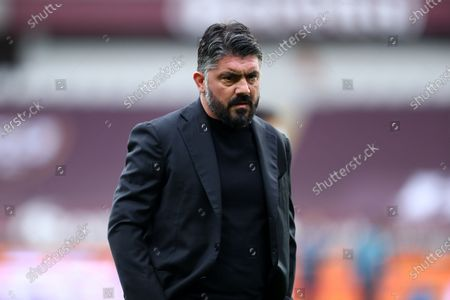 Stock Image of Gennaro Gattuso, head coach of Ssc Napoli, looks on during warm up before the Serie A match between Torino Fc and Ssc Napoli at Stadio Grande Torino on April 26, 2021 in Turin, Italy.