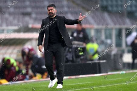 Gennaro Gattuso, head coach of Ssc Napoli, gestures during the Serie A match between Torino Fc and Ssc Napoli at Stadio Grande Torino on April 26, 2021 in Turin, Italy.