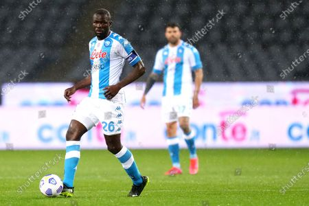 Stock Image of Kalidou Koulibaly of Ssc Napoli in action during the Serie A match between Torino Fc and Ssc Napoli at Stadio Grande Torino on April 26, 2021 in Turin, Italy.