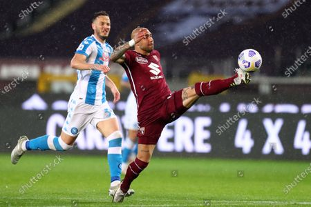 Simone Zaza of Torino Fc in action during the Serie A match between Torino Fc and Ssc Napoli at Stadio Grande Torino on April 26, 2021 in Turin, Italy.
