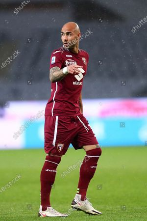 Simone Zaza of Torino Fc looks on during the Serie A match between Torino Fc and Ssc Napoli at Stadio Grande Torino on April 26, 2021 in Turin, Italy.