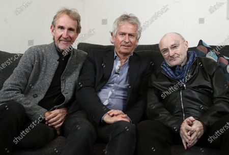 Genesis band members from left, Mike Rutherford, Tony Banks, and Phil Collins pose for a photo during an interview in London. The English rock band is returning to the U.S. for their first tour in 14 years. The trio announced The Last Domino? Tour, which will kick off in Chicago on Nov. 15