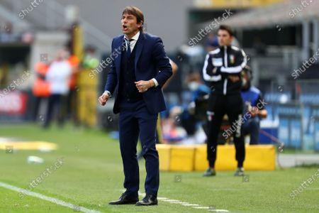 Antonio Conte, head coach of Fc Internazionale gestures during the Serie A match between Fc Internazionale and Hellas Verona Fc at Stadio Giuseppe Meazza on April 25 2021 in Milan, Italy.
