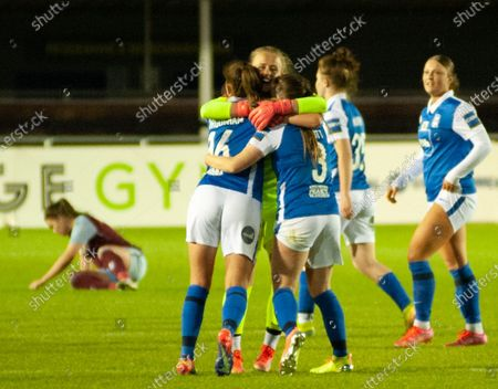 Stock Photo of Hannah Hampton (Birmingham City #1) Georgia Brougham (Birmingham City #16) & Harriet Scott (Birmingham City #3) celebrate at full time During the Womens Super League game between Birmingham City & Aston Villa at SportNation.bet Stadium in Solihull, England