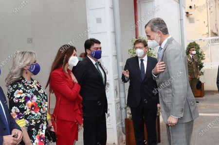 King Felipe VI awaits the ceremony of Princess of Girona Award's winner at Las Cigarreras, Alicante, Spain.