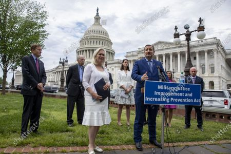 Sen. Ted Cruz, R-Tx., gives a press conference at the U.S. Capitol in Washington, DC on Thursday April 29 2021. Sen. Kristen Gillibrand, D-Ny., lend the push for Military Justice Improvement and Increasing Prevention Act legislation that will be voted on.