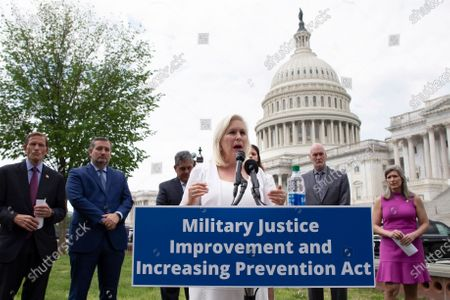 Democratic Senator from New York Kirsten Gillibrand (C)  speaks during a news conference on the 'Military Justice Improvement and Increasing Prevention Act', on Capitol Hill in Washington, DC, USA, 29 April 2021. The legislation, which has bipartisan support, aims to move the decision to prosecute serious crimes in the military, such as sexual assault, away from the chain of command to professional military prosecutors.