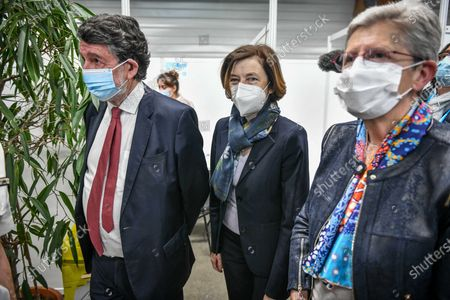 Stock Photo of French Defense Minister Florence Parly, French Junior Minister of Remembrance and Veterans Affairs Genevieve Darrieussecq and Merignac Mayor Alain Anziani, inaugurate a Covid-19 vaccination center in Merignac near Bordeaux.