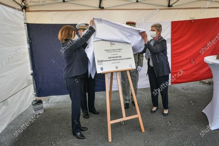 French Defense Minister Florence Parly and French Junior Minister of Remembrance and Veterans Affairs Genevieve Darrieussecq inaugurates the DIRISI (Direction InterarmAux'es des Rseaux d'â€Infrastructure et des Systems mes dâ€Information) data center at the Xaintrailles barracks in Bordeaux.