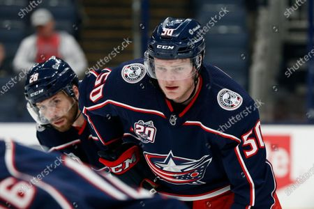 Columbus Blue Jackets' Eric Robinson plays against the Detroit Red Wings during an NHL hockey game, in Columbus, Ohio