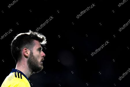 Goalkepeer David de Gea of Manchester United reacts during the UEFA Europa League semi final, first leg soccer match between Manchester United and AS Roma at Old Trafford in Manchester, Britain, 29 April 2021.