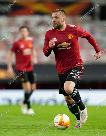 Manchester United's Luke Shaw controls the ball during the Europa League semi final, first leg soccer match between Manchester United and Roma at Old Trafford in Manchester, England
