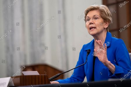 Stock Photo of United States Senator Elizabeth Warren (Democrat of Massachusetts) offers remarks in support of Eric S. Lander as he appears before a Senate Committee on Commerce, Science, and Transportation hearing for his nomination to be Director of the Office of Science and Technology Policy, in the Russell Senate Office Building in Washington, DC,.
